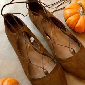 Brown lace up ballet flats size 7.5